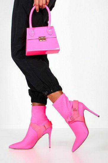 Womens Neon-pink Buckle Strap Stiletto Heel Sock Boots