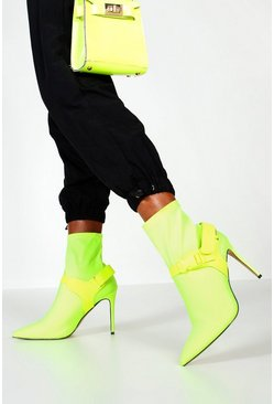 Womens Neon-yellow Buckle Strap Stiletto Heel Sock Boots