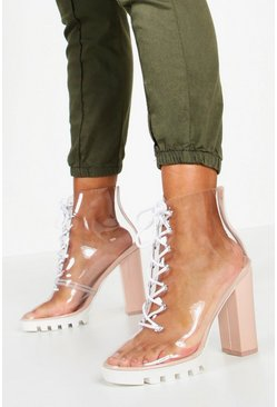 Nude Clear Lace Up Block Heel Hiker Boots