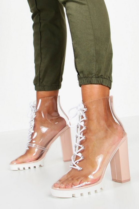 Clear Lace Up Block Heel Hiker Boots, Nude, FEMMES