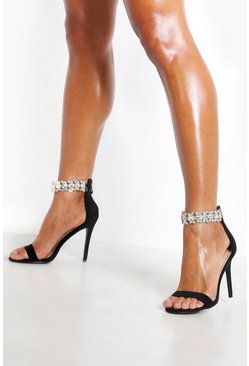 Womens Black Diamante Strap Stiletto Heel 2 Parts