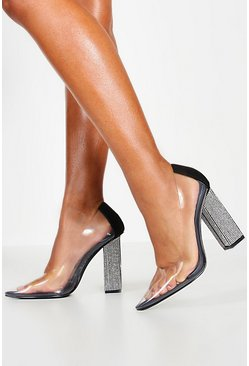 Womens Black Diamante Block Heel Pointed Toe Clear Courts