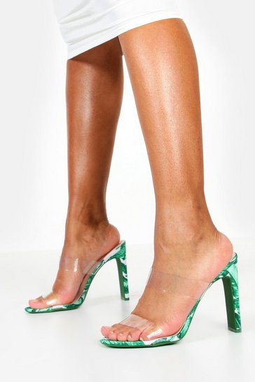 Womens Green Palm Print Clear Strap Flat Heel Mules