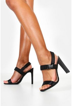 Womens Black Buckle Detail Flat Heels