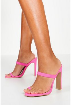Womens Pink Toe Post Flat Heel Mules
