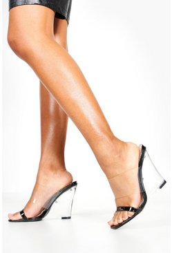 Clear Strap And Wedge Heels, Black, MUJER