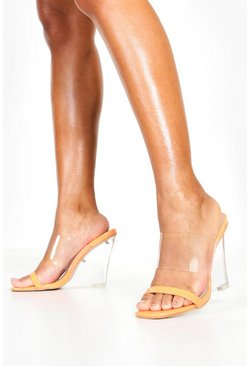 Clear Strap And Wedge Heels, Orange, MUJER