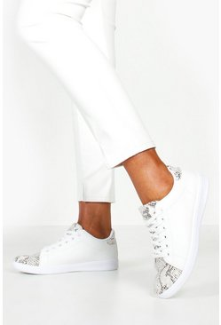 Snake Panel Basic Lace Up Trainers, White, MUJER