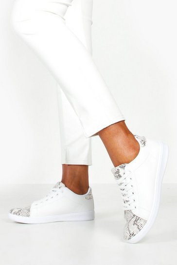 Womens White Snake Panel Basic Lace Up Trainers