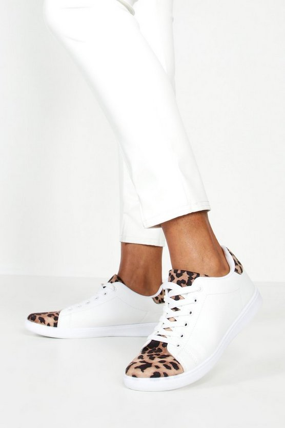 Leopard Panel Basic Lace Up Trainers, White, Donna