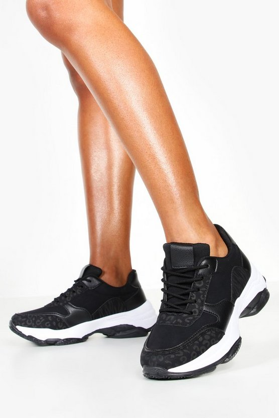 Womens Black Tonal Animal Print Chunky Trainers