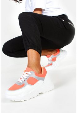 Reflective Panel Chunky Sole Trainers, Orange, MUJER