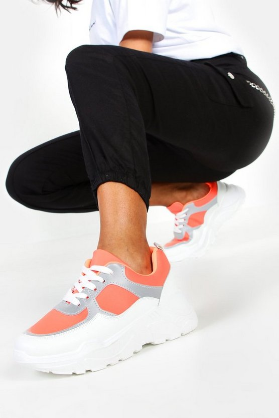 Womens Orange Reflective Panel Chunky Sole Trainers