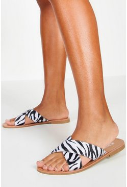 Womens White Zebra Cross Strap Sliders