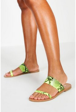 Womens Lime Neon Snake 2 Strap Sliders
