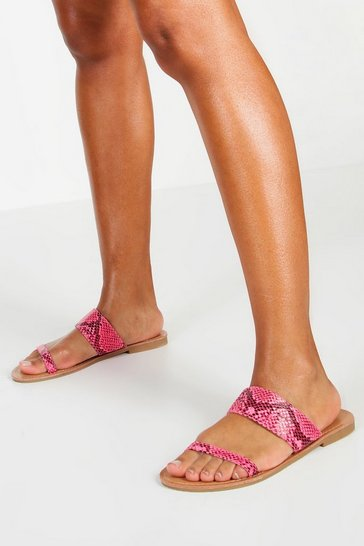 Womens Pink Neon Snake 2 Strap Sliders