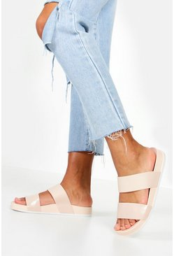 Jelly 2 Strap Sliders, Nude, MUJER