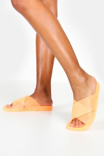 Womens Neon-orange Jelly Cross Strap Sliders