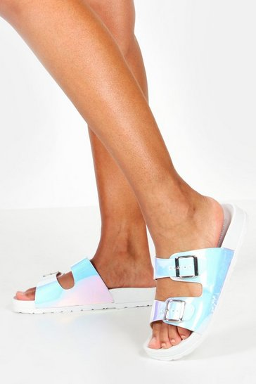 Womens White Iridescent Double Strap Footbed Sliders