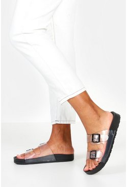 Womens Black Clear Buckle Footbed Sliders