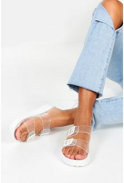 Womens White Clear Buckle Footbed Sliders