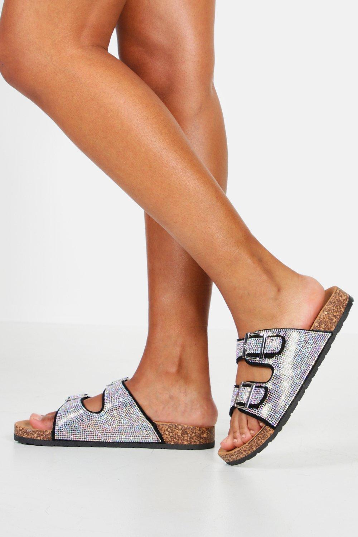 Фото #1: Diamante Double Strap Footbed Sliders