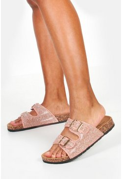 Womens Pink Diamante Double Strap Footbed Sliders