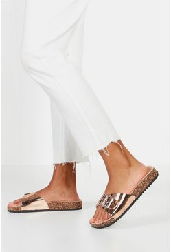Womens Rose gold Single Strap And Buckle Footbed Sliders