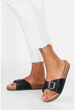 Single Strap PU Footbed Sliders, Black, FEMMES