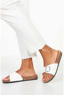 Womens White Single Strap PU Footbed Sliders