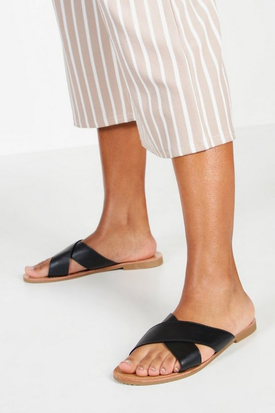 Womens Black Cross Strap Basic Sliders