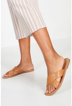 Womens Tan Cross Strap Basic Sliders