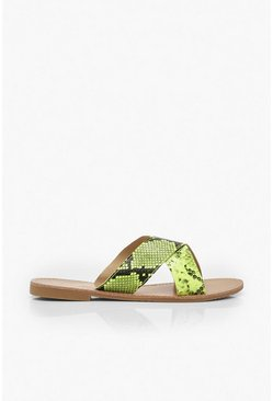 Neon Snake Cross Strap Sliders, Neon-lime, MUJER