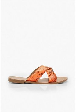 Neon Snake Cross Strap Sliders, Neon-orange, MUJER