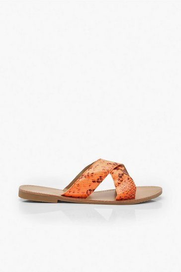 Womens Neon-orange Neon Snake Cross Strap Sliders