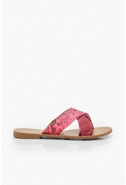 Womens Neon-pink Neon Snake Cross Strap Sliders