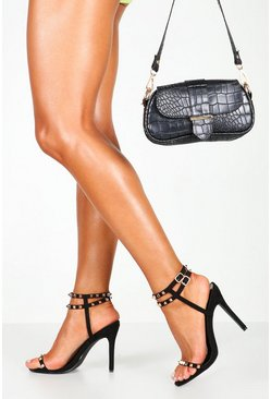 Womens Black Studded Caged Detail Stiletto Heels