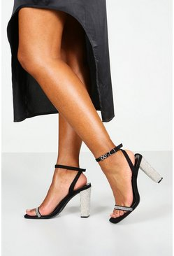 Womens Black Square Toe Diamante Detail 2 Part Heels
