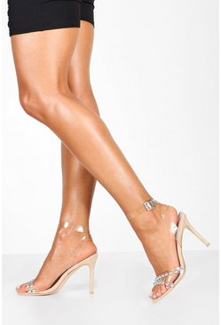 Womens Beige Studded Clear Strap Stiletto Heels