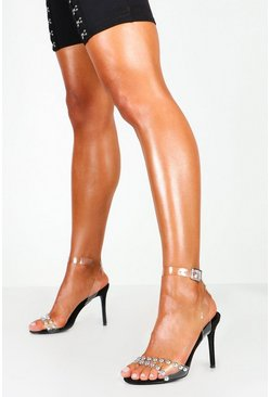 Dam Black Studded Clear Strap Stiletto Heels