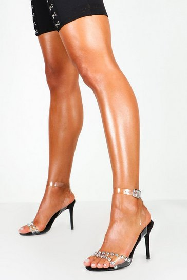 Studded Clear Strap Stiletto Heels