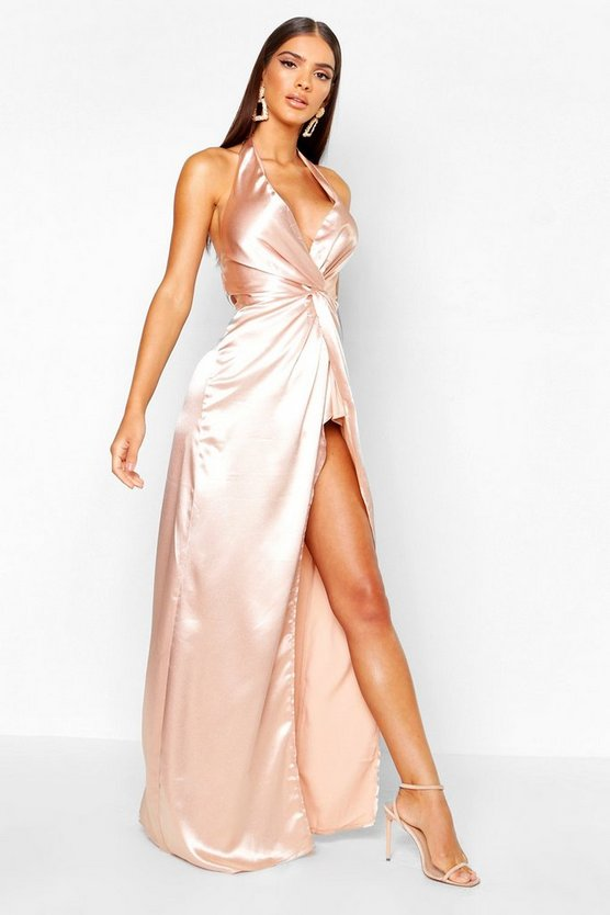 Womens Nude Twist Halterneck Satin Maxi Dress