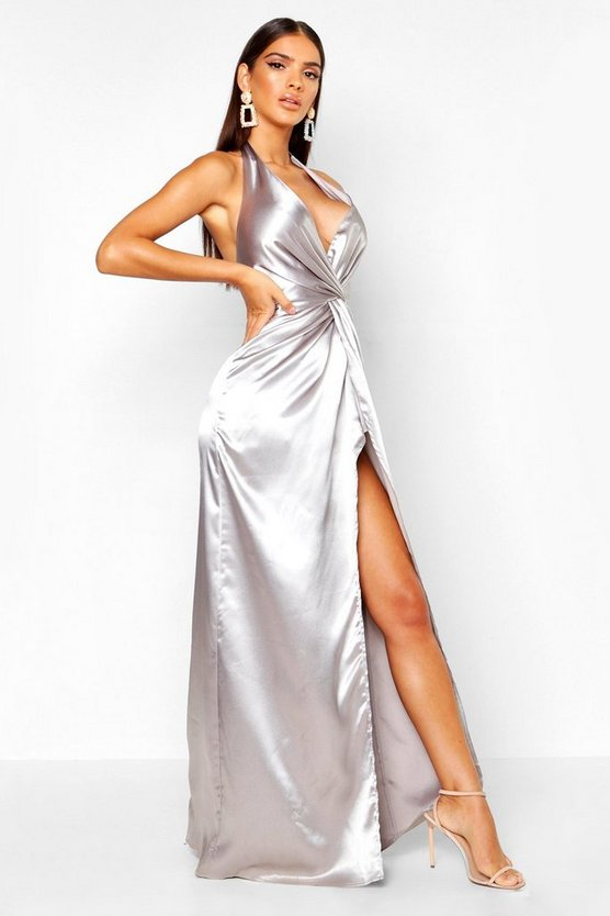 Silver Twist Halterneck Satin Maxi Dress