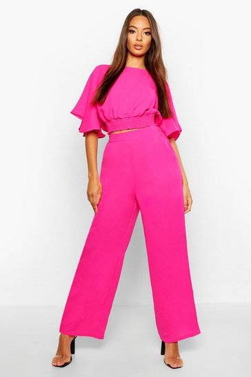 Womens Fushia Flare Sleeve Wide Leg Trouser Co-Ord