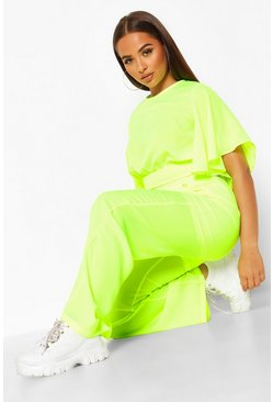 Womens Neon-yellow Flare Sleeve Wide Leg Trouser Co-Ord