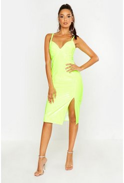 Neon-yellow Vinyl Midi Dress