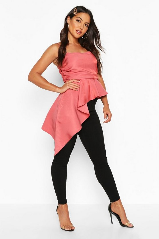 Rose Ruched Side Asymmetric Hem Satin Cami