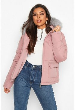 Womens Pink Faux Fur Trim Hooded Puffer Jacket