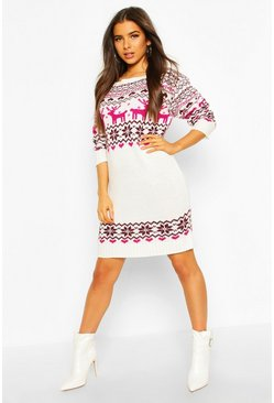 Dam Cream Christmas Slash Neck Fairisle Knitted Dress