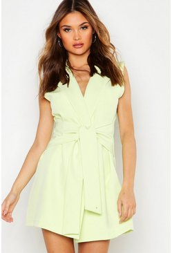 Lime Sleeveless Double Breasted Tie Front Blazer Dress